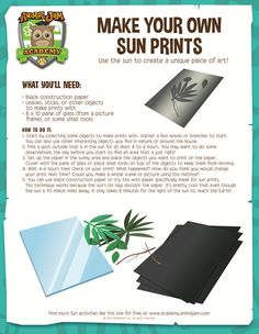 Superstars Which Are Helping Individuals Overseas Sun Prints: A Free Printable Lab From Animal Jam Academy. Fitting For Elementary Level Science. A Fun And Easy Lab Science Projects For Kids, Science Activities For Kids, Easy Science, Preschool Science, Learning Activities, Science Nature, Summer Science, Science Party, Science Chemistry