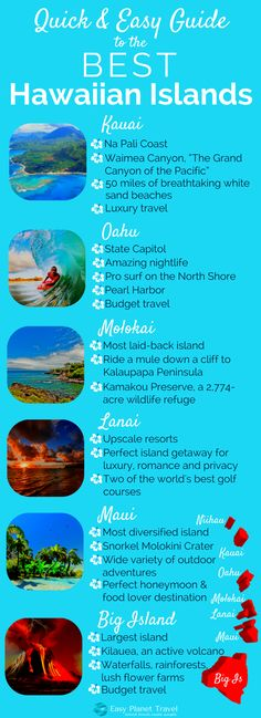 USA Destinations & Places :Quick and Easy Guide to the Best Hawaiian Islands Easy Planet Travel Hawaii Honeymoon, Hawaii Vacation, Honeymoon Destinations, Vacation Trips, Maui Hawaii, Vacation Spots, Hawaii Life, Travel To Hawaii, Vacation Ideas