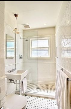 """console sink, glass enclosed shower...all I this for our tiny """"master"""" bath"""