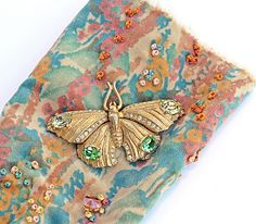 Embroidered Velvet Cuff Corset Style Vintage Butterfly Swarovski Crystal Hearts Teal Turquoise Rust Peach Victorian Boho Southwestern OOAK