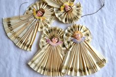 Vintage Christmas Ornaments - Primitive Victorian Paper Angels - 4