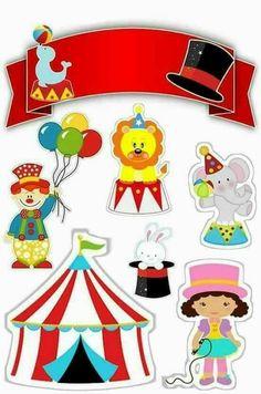 modelos de topper de bolo circo rosa para imprimir Kids Carnival, Carnival Themes, Circus Theme Party, Carnival Birthday, Circus Crafts, Diy And Crafts, Paper Crafts, Preschool Crafts, Party Printables