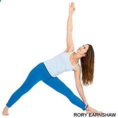 Trikonasana: Extended Triangle Pose- from Tadasana, step feet to 3-4ft apart, raise arms parallel floor palms down, L foot in, R foot out, align heels, firm thighs, align knee to center toes, bend at hip  exhale/extend torso R over plane of R leg, firm L leg and press L heel down, rotate torso L, rest R hand on shin/floor, L hand to ceiling, turn head up to hand, 30secs-1min, to release press from feet  reach to ceiling, repeat other side.