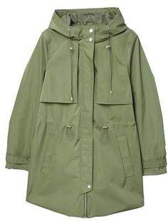 Womans Khaki Green Hooded cotton midi spring parka