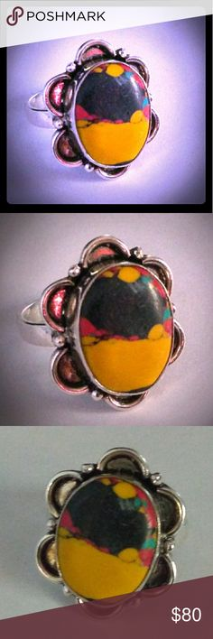 VTG OOAK Artisan Crafted Sterling Silver & Jasper Gorgeous OOAK vintage southwestern artisan/hand-crafted solid sterling silver ring w an absolutely gorgeous multi-colored Jasper stone.. I can't remember the exact name.. I believe it was some type of 'imperial' Jasper..? The  main colors are yellow & black with some red and a hint of turquoise. Very cool & unique!  This is vintage and does show some wear but overall in fantastic condition! This is re-sizable as well! Comes w giftbox🎁…