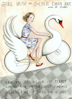 Missed Connections: Girl with the Golden Swan Bike.. lovely bit of romance. Missed connections is a blog that pairs missed connection messages with artwork. It's awesome, check it out.