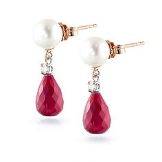 Ruby, Diamond and Pearl Drop Earrings 8.6ctw in 9ct Rose Gold