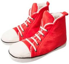 Red High Top Sneakers Converse Style Novelty Cotton Slippers s M L ...