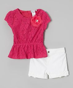 Even when mornings are rushed, this perfectly paired set conveniently ensures little ladies look their precious best. A floral accent and lace overlay make the top soar with style, and bows on the shorts top the ensemble with girly flair. Toddler Fashion, Kids Fashion, Little Girl Dresses, Girls Dresses, Short Fille, Kids Frocks, Lace Peplum, Baby Kids Clothes, Red Lace
