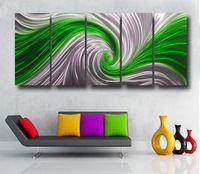 Metallic Paint Wall Hanging Mental Art Sculpture Green Whirlpool Waterproof 3D Effect Home Decoration 00358b