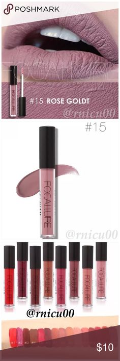 """Beautiful Matte Rose 10-Hr Lipstick! A Long-wearing, liquid Lipstick that dries Matte with an intense color payoff! Lightweight formula infused with antioxidants & an exclusive complex to help maintain the lips hydration. One thin coat has Amazing transfer-free staying power! (shopfocallure.com)  ✔️Popular 5⭐️ Product, Sealed in Box ✔️""""Rose Goldt"""" ✔️Cruelty Free, NO Parabens or Phthalates ✔️Pic's obtained Online   *NO TRADES *Prices are FIRM-Listed at Lowest Price Unless BUNDLED! *Sales are…"""