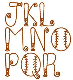 Baseball Bat Font Machine Embroidery by EmbroideredDesign Embroidery Monogram, Embroidery Applique, Embroidery Patterns, Machine Embroidery, Hand Lettering Alphabet, Doodle Lettering, Creative Lettering, Baseball Crafts, Baseball Letters