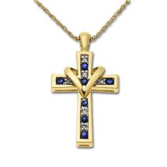 XPY 10k Yellow Gold Sapphire and Diamond Cross « Holiday Adds