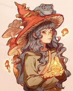 Cute Art Styles, Cartoon Art Styles, Art Drawings Sketches, Cool Drawings, Cartoon Kunst, Witch Drawing, Witch Characters, Mushroom Art, Witch Art