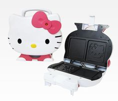 Hello Kitty Sandwich Maker- Grills Hello Kitty's Face into every sandwich! Perfect for grilled cheese, hot panini sandwiches and more. Nonstick cooking surfaces makes clean up easy.  Two surfaces to allow cooking on both sides of bread simultaneously.