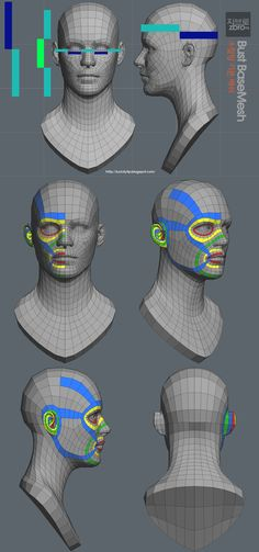 zbro bust base (ztl /obj) - Great reference for face topology