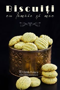 biscuits with lemon and poppy 1 Romanian Desserts, Romanian Food, Baby Food Recipes, Cookie Recipes, Pita, Breakfast Dessert, Food Cakes, Cake Cookies, Edith's Kitchen