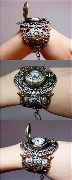 A gorgeous steampunk watch. Check out http://www.designyourownperfume.co.uk to create your own custom perfume to compliment your quirky Steampunk style...