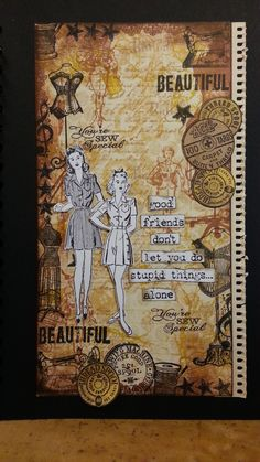 collage background stamping - with a sewing theme - girl stamps from hero arts - background stamps from crafty secrets, tim holtz and other brands