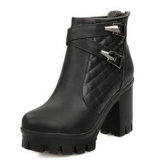 VogueZone009 Women's Solid PU High-Heels Chains Round Closed Toe Boots * Check this awesome product by going to the link at the image.