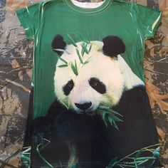 Women's Panda tee shirt NEVER WORN!!! Small/ med Soft, very bright;) small/ medium is what tag says . Tops Tees - Short Sleeve
