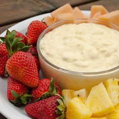 Pina Colada Fruit Dip -- >1 (3.4 oz) pkg coconut cream pudding mix >3/4 cup Cool Whip (I used the extra creamy kind) >1 cup milk (I used skim) >1 cup crushed pineapple, undrained -- In a bowl, blend together the pudding mix, cool whip, and milk with a hand mixer for 2 minutes.  Fold in the pineapple.  Refrigerate for at least 30 minutes and serve with fresh fruit.