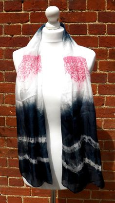 Hand dyed and screen printed elegant blue and by HollyEdenTextiles, £25.00