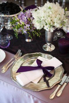 Lilac tablecloth with plum table runner/napkins, champagne plates Purple wedding inspiration. Deep Purple Wedding, Purple Wedding Tables, Wedding Table Linens, Plum Wedding, White Wedding Bouquets, Wedding Table Decorations, Flower Decorations, Wedding Colors, Wedding Reception