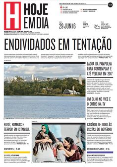 Capa do dia 29/06/2016 #HojeEmDia #Jornal #Notícias #News #Newspaper