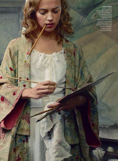 """Painter's Progress"" Alicia Vikander by Annie Leibovitz for Vogue US October 2015"