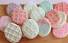 Easter eggs set of cookies Lace Cookies, Royal Icing Cookies, Fun Cookies, Holiday Cookies, Cupcake Cookies, Sugar Cookies, Decorated Cookies, Set Cookie, Cookie Ideas