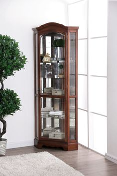 This corner curio case offers you a perfect means to dress up that hard to fill spot in the home. The traditional design elements of an intricate molded trim are perfectly suited for framing your trinkets and accent pieces. Oak China Cabinet, Crockery Cabinet, Curio Cabinets, Living Room Corner Furniture, Living Room Cabinets, Corner Curio, Room Partition Designs, Corner Designs, Dining Room Design