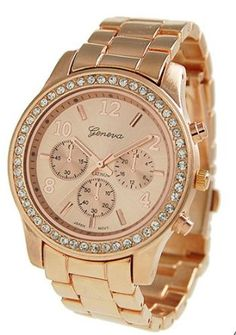 Geneva Rose Gold Plated Classic Round CZ Ladies Boyfriend Watch-- WOW!!  82% DISCOUNT for a limited time!--->  http://amzn.to/15gwAQy