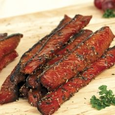 Peppercorn Candied Smoked Salmon: Glazed with Fireweed Honey and smoked in brine with a mix of peppercorns. Jerky Recipes, Fish Recipes, Meat Recipes, Seafood Recipes, Candied Salmon Recipe, Smoked Salmon Recipes, Smoked Salmon Brine, Good Food, Yummy Food