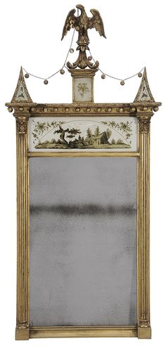 American Federal eglomisé and gilt-decorated eagle-carved mirror, New York, probably circa 1815.
