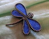 Recycled Felted Wool Sweater/Zipper Brooch/Pin-  Blue Dragonfly