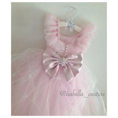Miss Dior CAPRI Vestido de alta costura Isabel - niña de las flores - vestido de encaje de las niñas - vestido rosa - gran lazo Dress - Vestido de novia