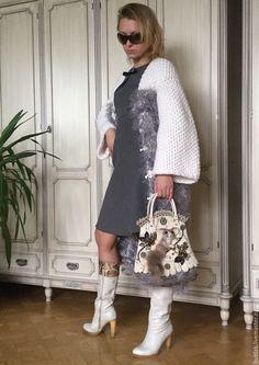 Купить Пальто АЛЬБИОН ТУМАННЫЙ - белый, вязаное пальто, пальто спицами, пальто с косами