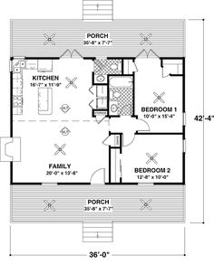 Plan No: W20037GA Style: Country, Cottage Total Living Area: 953 sq. ft. Main Flr.: 953 sq. ft. Front Porch: 270 sq. ft. Rear Porch: 270 sq. ft. Bedrooms: 2 Full Bathrooms: 1 Half Bathrooms: 1 Width: 36' Depth: 42'4""