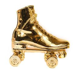Harry Allen gold roller skate book end. Gold finish is sold out. *I'm obsessed with late 70's/early 80's roller disco!