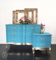 SOLD Dresser chest of drawers French provincial dresser Hand Painted Furniture, Distressed Furniture, Refurbished Furniture, Paint Furniture, Repurposed Furniture, Shabby Chic Furniture, Furniture Projects, Furniture Makeover, Home Furniture