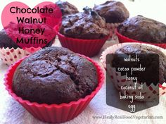 Paleo, flour free Chocolate Walnut Honey Muffins-made Delicious. Not overwhelmingly sweet. Had to bake about 20 minutes instead of 10 and definitely need to spray or oil down the baking cups. Makes about 6 muffins. Paleo Sweets, Paleo Dessert, Gluten Free Desserts, Dessert Recipes, Keto Desserts, Gluten Free Muffins, Gluten Free Baking, Baking With Coconut Oil, Chocolate Muffins