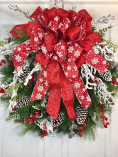 Christmas Snowflake Frosted Pine Red and White Wreath