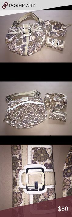 """Guess Kisses floral Satchel handbag wallet makeup Guess Kisses satchel handbag. White patent trim Used by non-smoker. EUC. No rips or tears H - 11 1/2"""" W 17 1/2"""" strap drop 9"""" zippers work perfect. Gold accent and straps show some sign of wear.  Matching wallet 7 X 4"""" snap works perfect.  Still holds. Slight tear from use as shown in picture    Make-up bag. Zipper works perfect. No stains inside G by Guess Bags Satchels"""