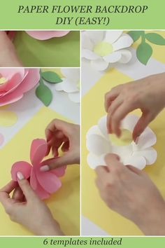 """""""Paper Flower Backdrop In A Box"""" is an all-in-one solution so that you can easily make your first paper flower backdrop really fast, and you were confident that all the templates you purchased will give you flowers that mix and match perfectly. It includes 5 different paper flower templates (dahlia, 2 types of garden roses, daisy and small flowers) as well as templates for leaves. You can easily put together a professional looking and balanced composition! #paperflowersbackdrop #paperflowers How To Make Paper Flowers, Paper Flowers Craft, Paper Flower Wall, Paper Crafts Origami, Paper Flower Backdrop, Giant Paper Flowers, Paper Roses, Flower Crafts, Paper Peonies"""