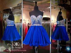 Real Picture Sweetheart A-Line Crystal Beading Robe De Cocktail Short Prom Homecoming Dresses Royal Blue Cocktail Dresses