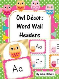Owl Themed Classroom Decor: Word Wall headers.