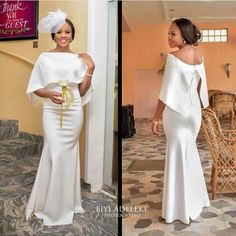 African Elegant White Mother Of The Bride Dresses With Cloak Off Shoulder Long Plus Size Satin Mermaid Women Prom Formal Gowns Bridesmaid Dresses Under 50, Mermaid Bridesmaid Dresses, Girls Party Dress, Girls Dresses, Prom Dresses, Bride Dresses, African Fashion Dresses, African Dress, Dress Fashion