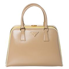 1b0ba3d38fb1 Prada Beige  Yellow Leather Pyramid Frame Bowler Bag (Prada BL0808 2AO6  F0MCM Pyramid Frame