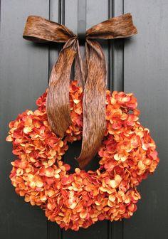 Pumpkin Wreath - Fall Hydrangeas - Autumn Wreath - Wreaths - Hydrangea Wreath - Hydrangea Blooms - Wedding Decor. $75.00, via Etsy.